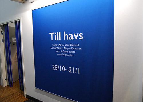 Fotografi som visar en blå vepa med information om utställningens titel, deltagande konstnärer samt utställningsperiod.