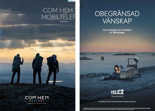I vänstra bilden syns Com Hems reklambild med tre gestalter som blickar ut över ett överdådigt landskap. Himlen är dramatisk med vackra skiftningar mellan ljus och moln. I den högra bilden syns två flickor sitta vid en lådbil i ett vackert skärgårdslandskap. Deras ansikten lyses upp av en surfplatta.