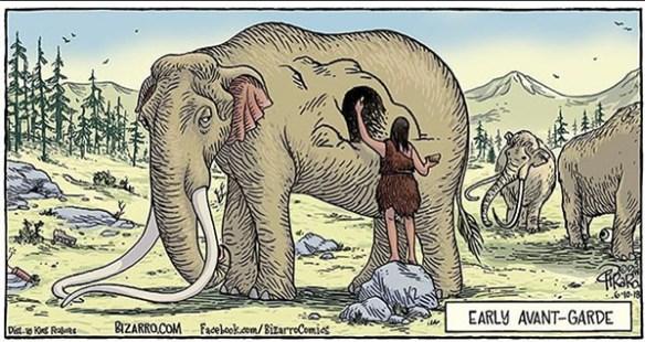 """Serieruta från Bizarro. Den visar en grottmänniska som målar på en mammut. Texten lyder """"tidigt avant-garde""""."""