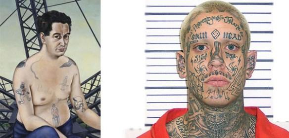 Till vänster syns porträttet av Egon Erwin Kisch. Till höger ett fotografi på en orangeklädd fånge med hela ansiktet täckt av tatueringar.