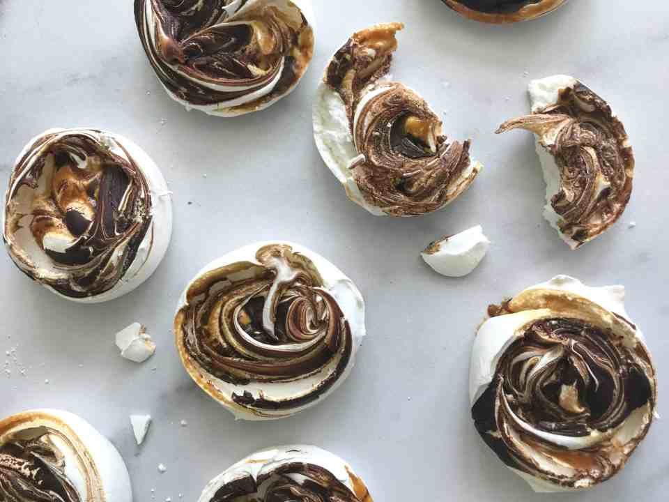 salted caramel chocolate meringues