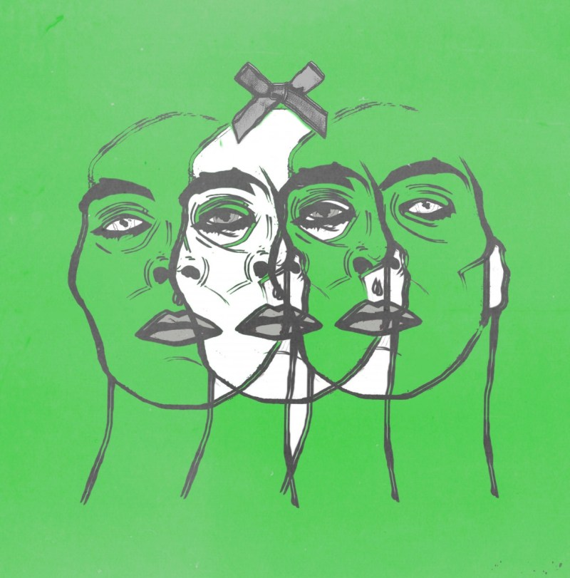 Green background with three faces sketched overlapping on top