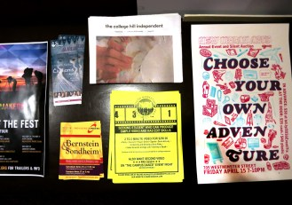 Indie newspapers, movie posters, local events info displayed at the Avon Cinema - LTABBLOG