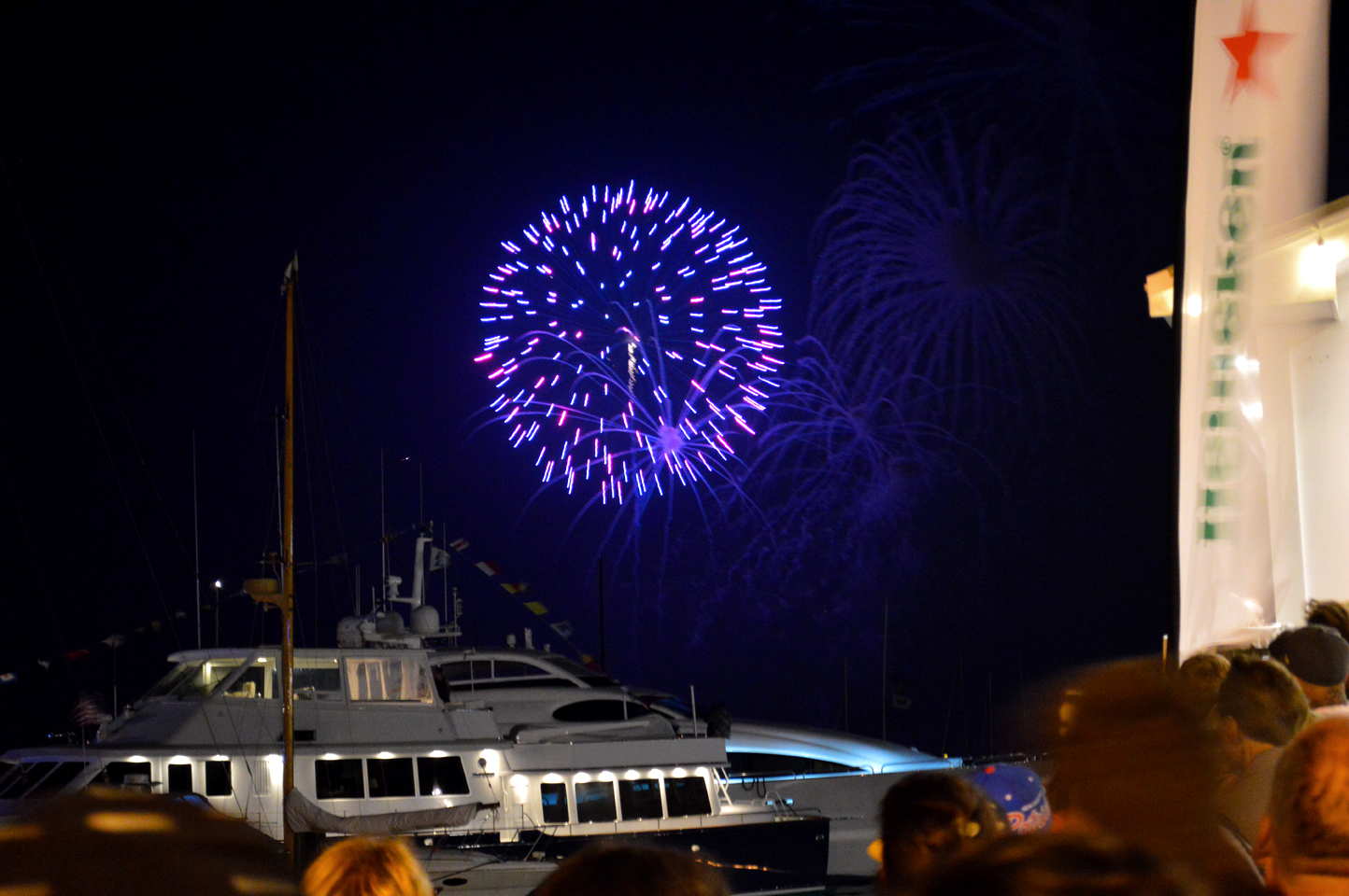 ROCKET'S RED GLARE OVER NEWPORT HARBOR - live. travel. adventure. bless. | Bright purple firework exploding over the yachts down by Bowen's Wharf in Newport Harbor. Happy 4th of July!