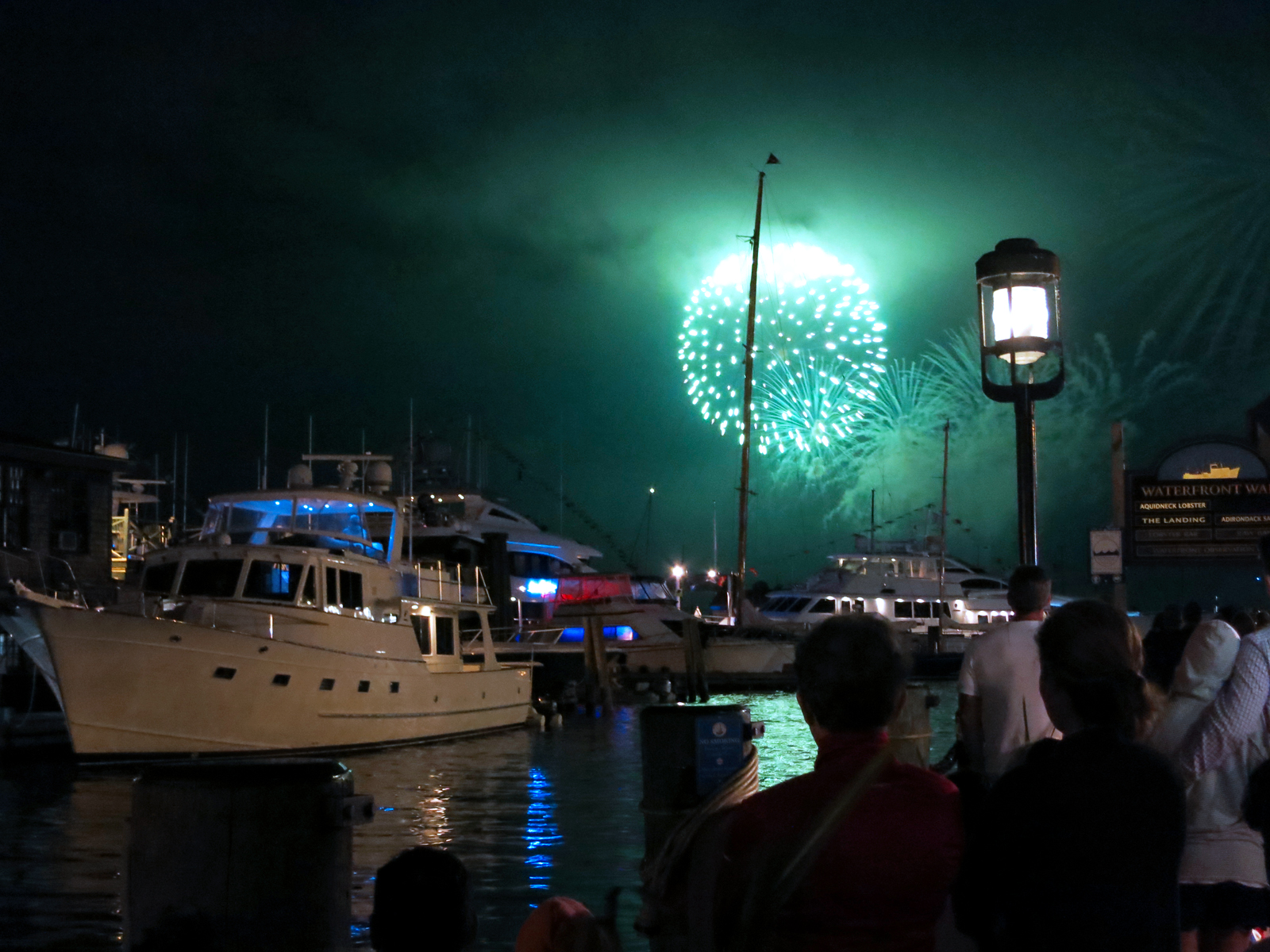 ROCKET'S RED GLARE OVER NEWPORT HARBOR - live. travel. adventure. bless. | Bright blue firework lighting up the sky over Newport Harbor in Newport, RI during the Independence Day fireworks display. Happy 4th of July!