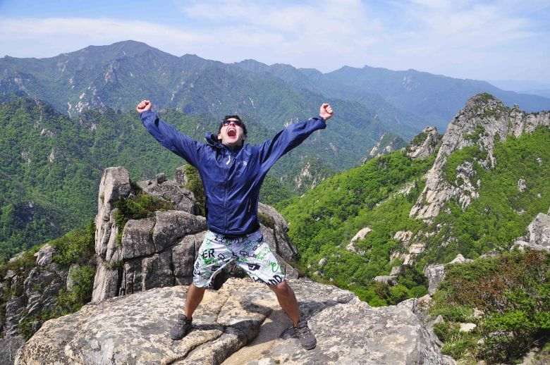 Rodrigo at the top of Dinosaur Ridge
