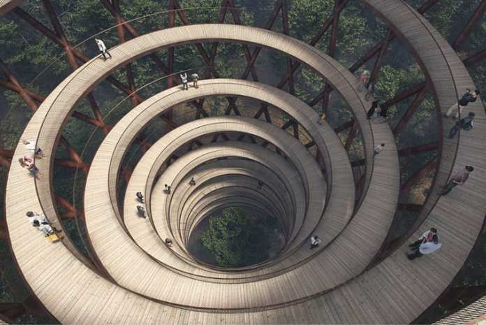 Spirala daneză -O construcţie uimitoare în mijlocul pădurii! Priviţi ce se construieşte în Danemarca.