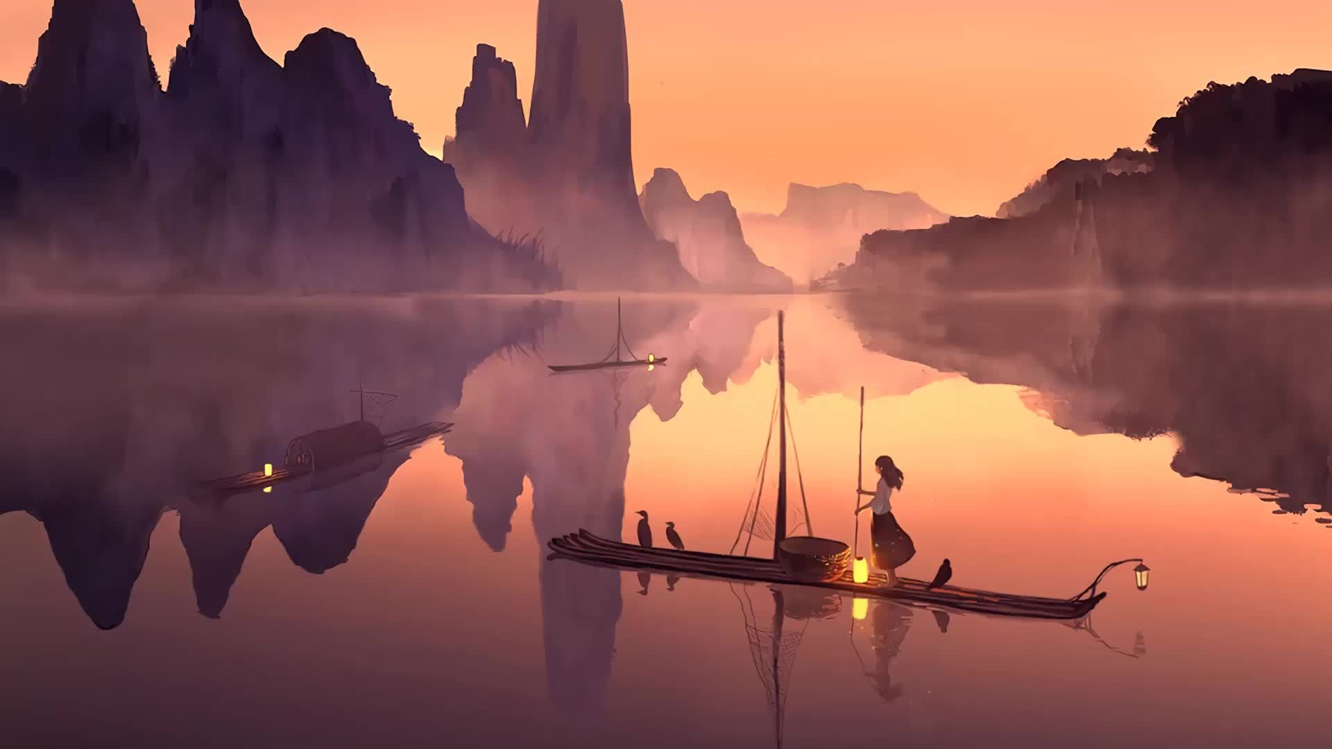 Animated anime girls and chan for system decoration. Serenity Lonely Anime Girl Boat Landscape - Live Wallpaper ...