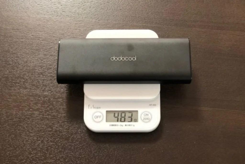 dodocool PD対応モバイルバッテリーの重量