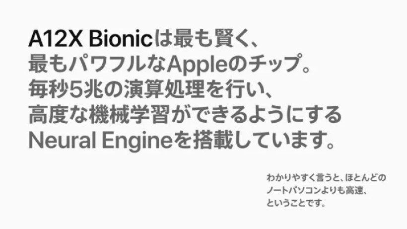 新型iPad Proの「A12X Bionic」チップ