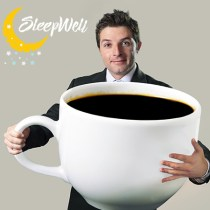 Man with large coffee mug with sleep well logo