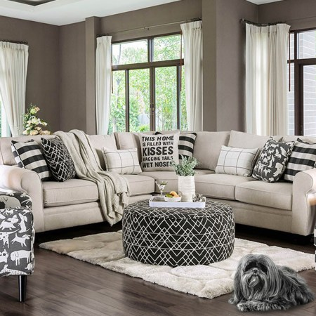Patricia Sectional Fabric with dog print pillows