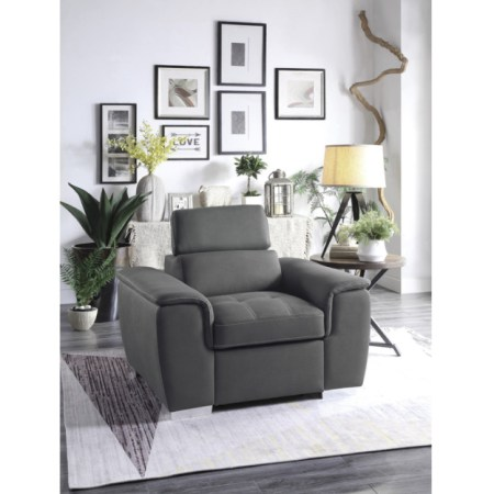 Ferriday Chair in Grey with pullout ottoman