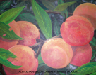 Metallic peaches, painting by Raquel Jackson_Rockwell Art & Design, custom canvas painting, fine art, wall art