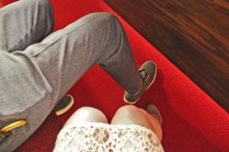 couple at wedding, legs, van shoes retro modern