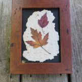 Leaves on homemade paper-Rustic Brown Frame-5X7