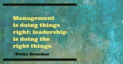 management vs leadership_quotes_photo graphic for Peter Van Nort by Rockwell Art & Design