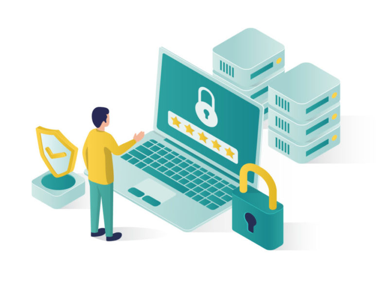 isometric graphic with person, laptop and symbols illustrating website security
