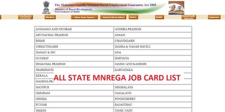 ALL-STATE-MNREGA-JOB-CARD-LIST, MGNREGA scheme