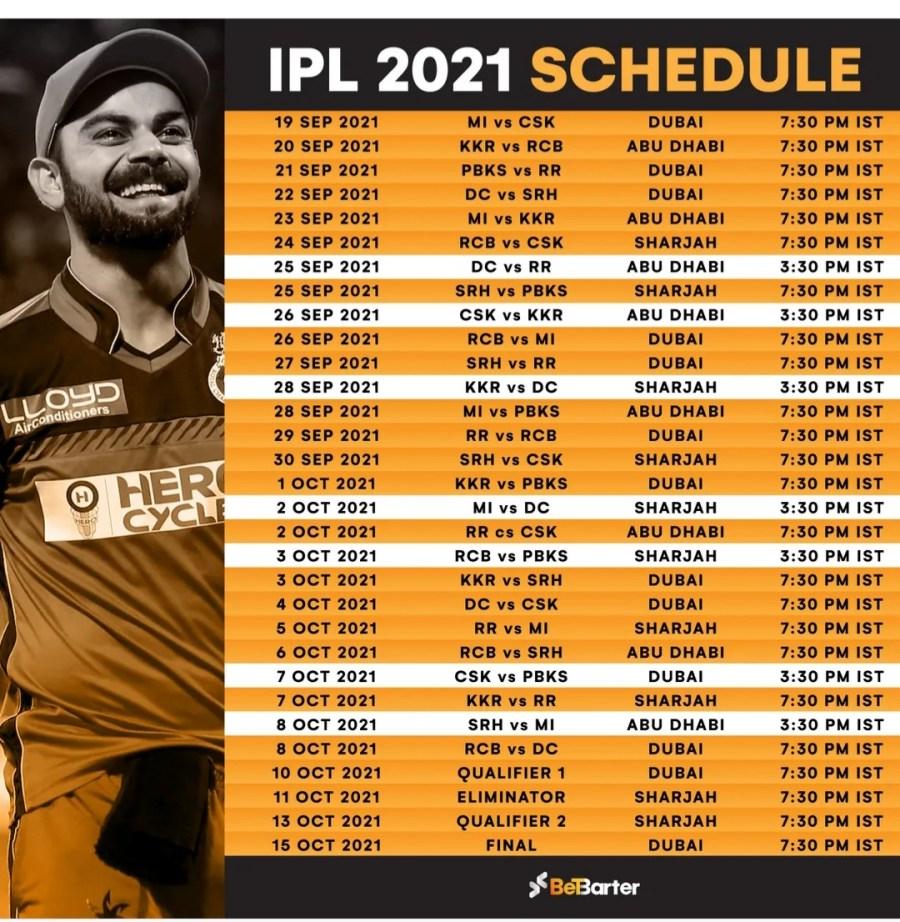 ipl 2021 new schedule