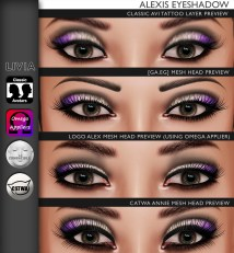 Alexis Eyeshadow Preview on Classic Avi & Mesh Heads