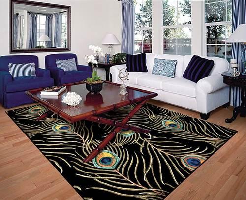 beautiful-peacock-area-rug-blue-and-white-sofa-living-room-decor