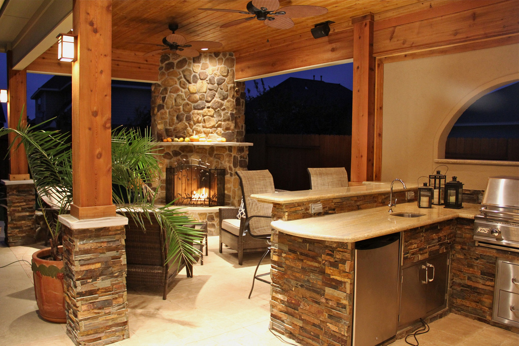 Upgrade Your Backyard with an Outdoor Kitchen on Covered Outdoor Kitchen With Fireplace id=14097