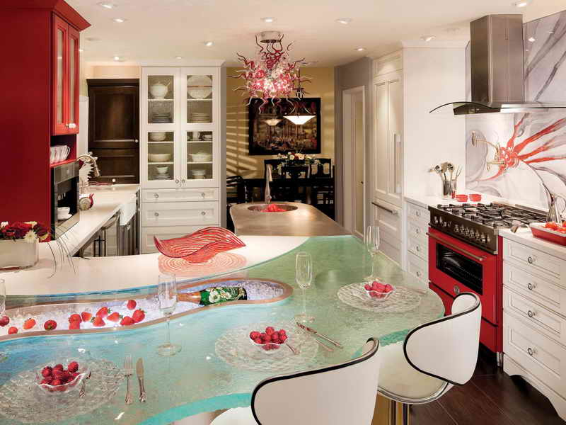 31 Cool and Colorful Kitchens on Modern:egvna1Wjfco= Kitchen Counter Decor  id=57616