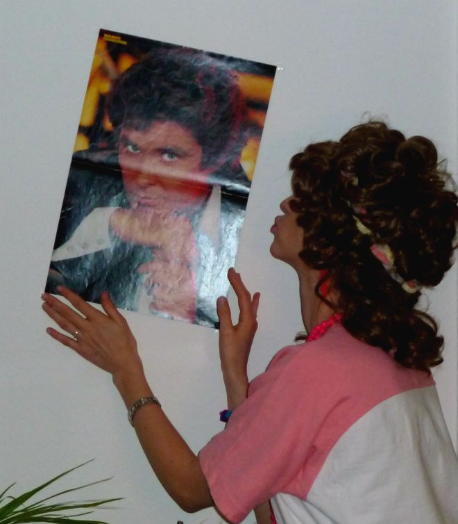 A poster of David Hasselhoff on an German 80s revival party