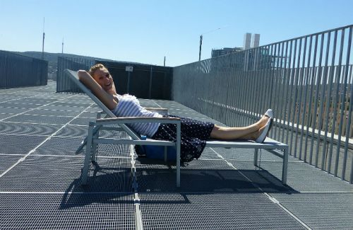 Enjoying the sun on top of Stadtbibliothek Stuttgart