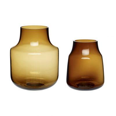 Hubsch set van 2 glazen vaas camel