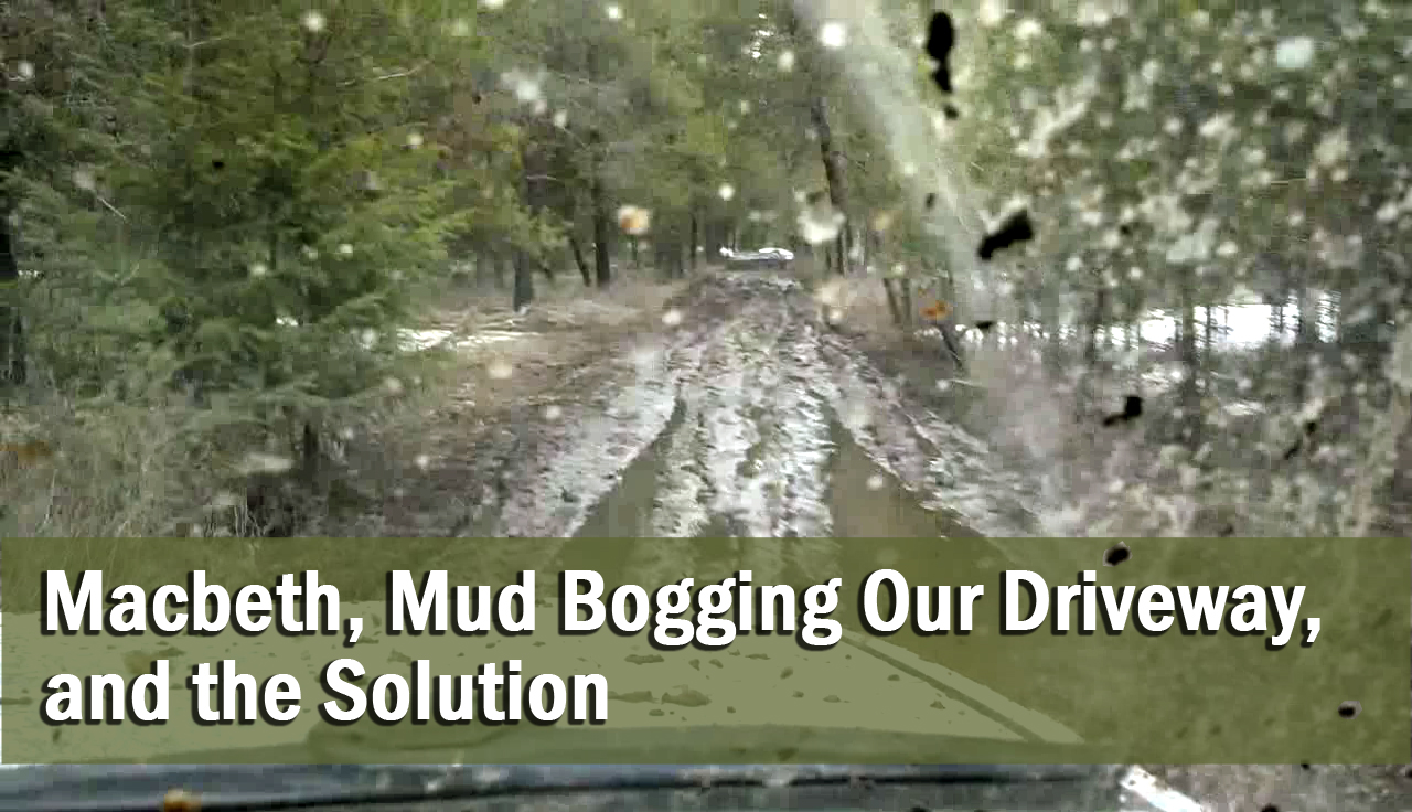Macbeth, Mud Bogging our Driveway, and the Solution
