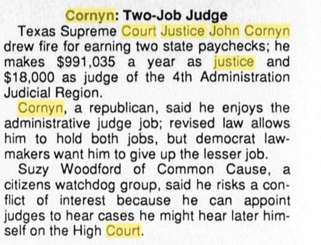 John Cornyn has been unethical since the 1990s.