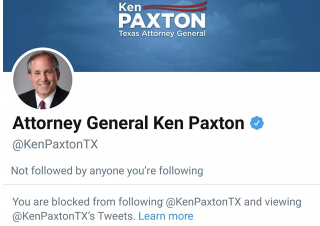 Ken Paxton Blocked Me On Twitter, Which Violates The 1st Amendment