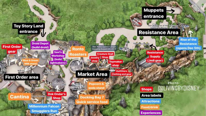 Map of Star Wars Galaxy's Edge in Walt Disney World
