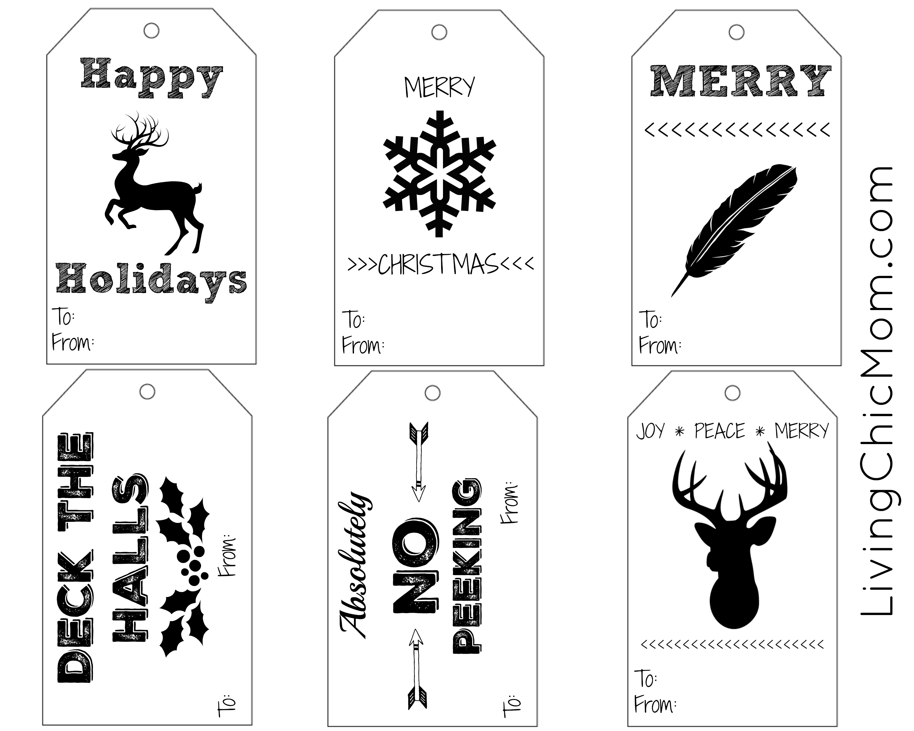 photo relating to Printable Christmas Tags Black and White known as Do it yourself Shabby Stylish Vacation Present Tags (printable) - Dwelling Stylish Mother