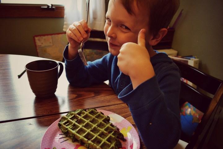He loves Hulk Waffles
