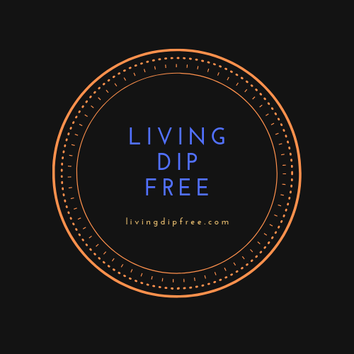 Living dip free Logo - a circle with the words Living Dip Free in the center