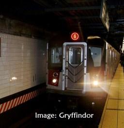 New York subway train entering station