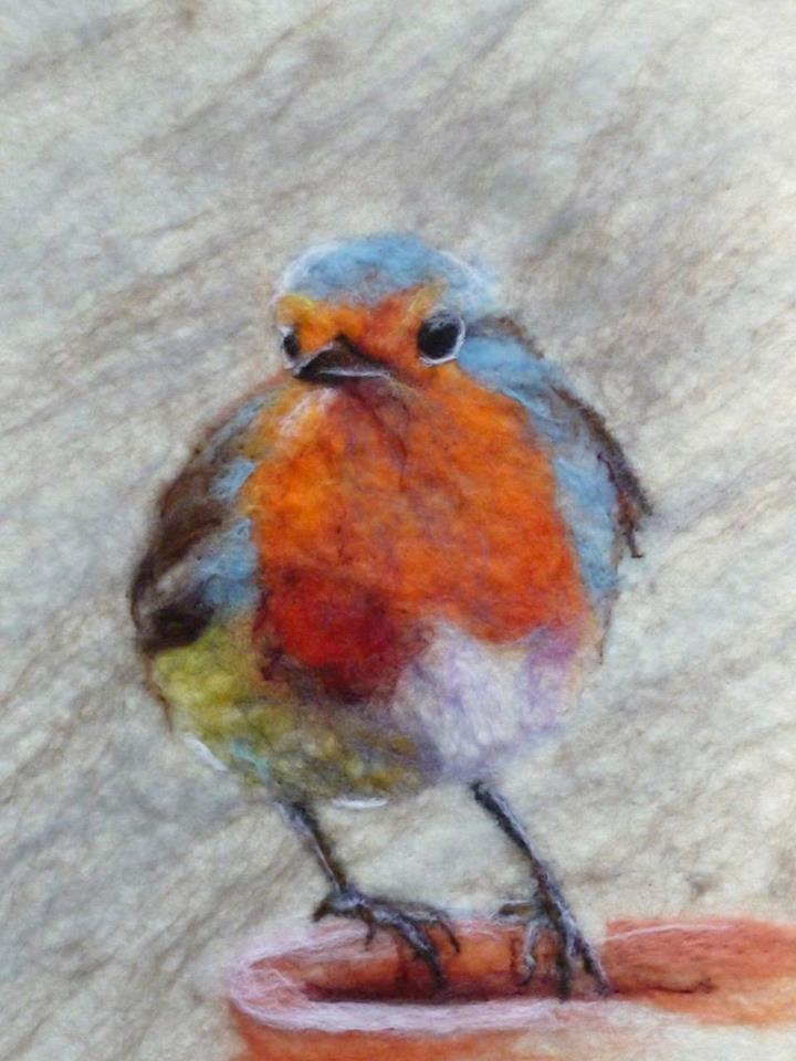 Felted Painting Of Robin Bird By Fiona Gill Of Marmelade