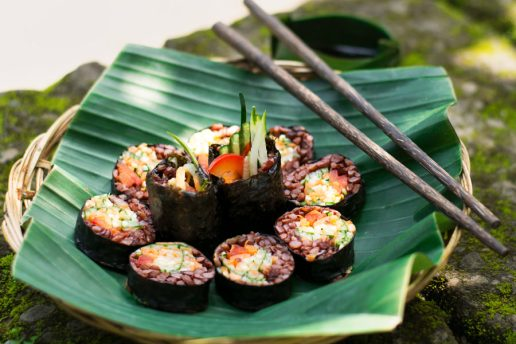 Sushi (With Red Rice and Veggies or Veggies Only, Sushi Ginger, Wasabi Paste & Soy Sauce)