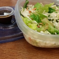 Asian Crunch Salad: Ingredients: 2-3 cups lettuce/spinach/greens, 1/4 chopped cucumber, 1-2 shredded carrots, 1/4 cup dry and crushed Ramen noodles, 2-3 tbsp Sesame Ginger salad dressing, chopped green peppers and sesame seeds for taste.