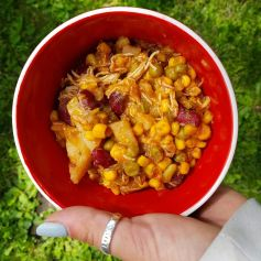 Chicken Veggie Soup: 1-2 cans/bags of frozen corn 2 raw potatoes, chopped into small chunks 1 can red kidney beans 2 cups chicken broth 3 tbsp. beef bullion 1 bag frozen peas 1/2 bag frozen green beans 1-2 (depends on how many you're feeding) frozen chicken breasts 1/2 can tomato sauce with tomato chunks To taste: garlic salt, Italian seasoning, Montreal Steak Spicy Seasoning