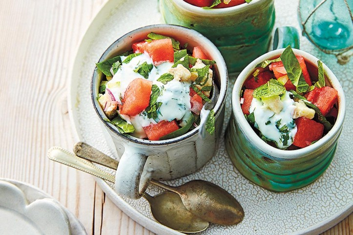 watermelon salad in teacups