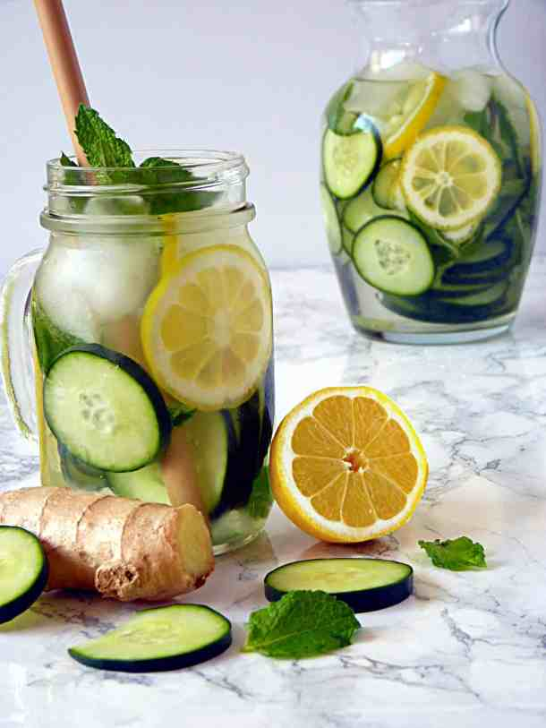 Cucumber lemon ginger mint infused water