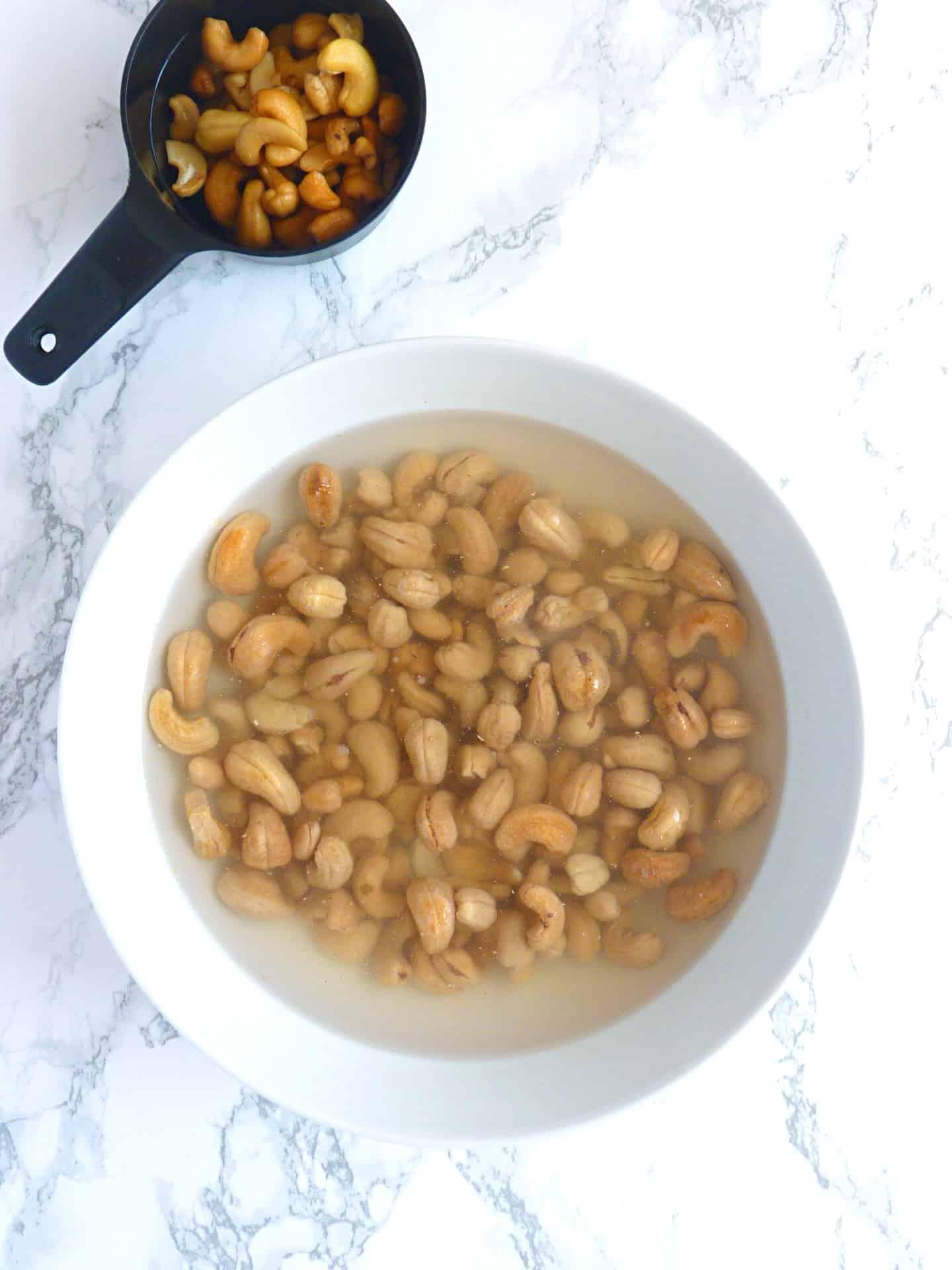 Cashews soaking for egg free mayo