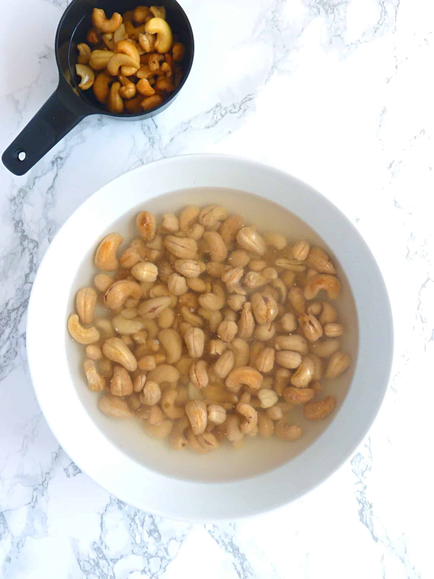 Cashews soaking for egg free mayo