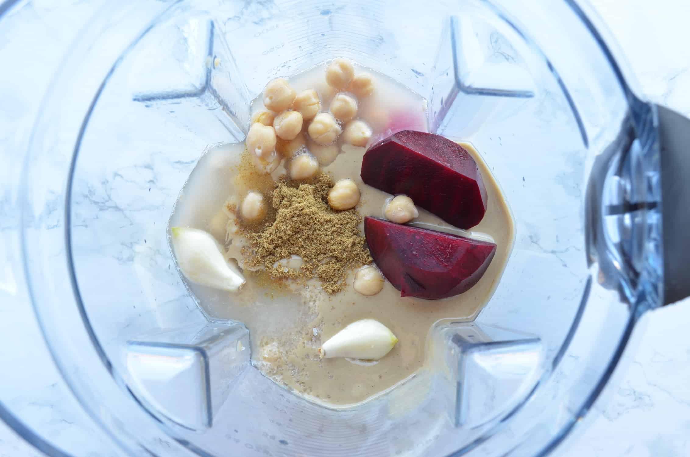 raw beetroot hummus ingredients