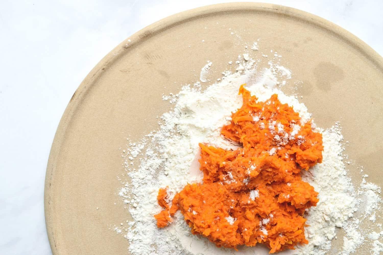 Mash Sweet Potatoes with gluten free flour