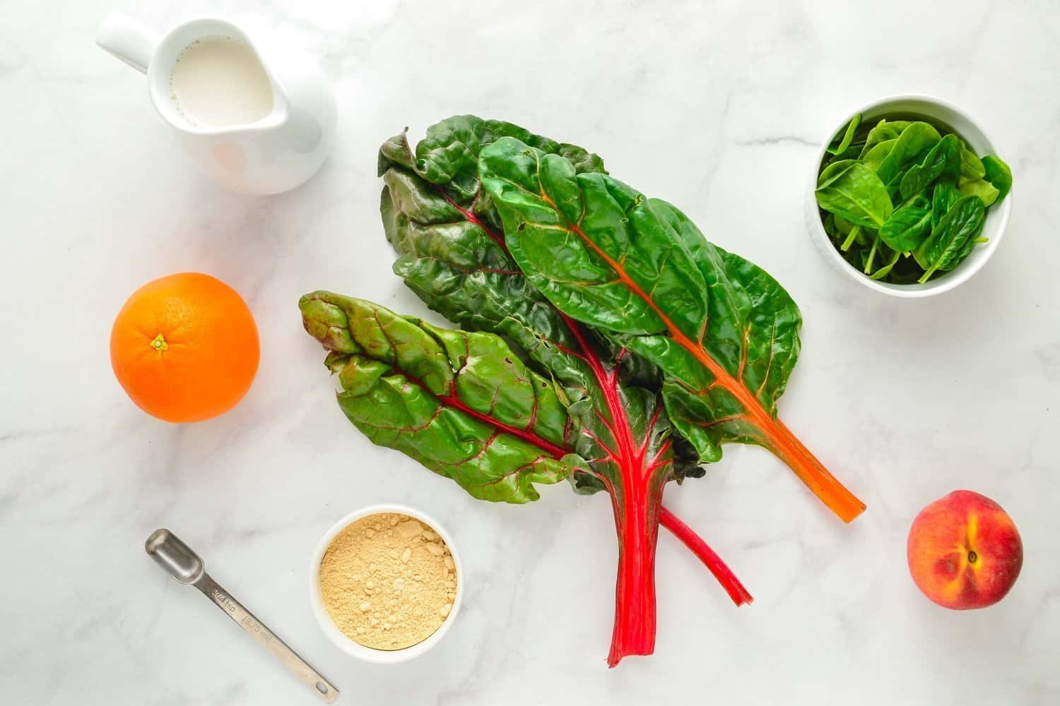 prep swiss chard and fresh ingredients